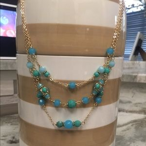 Anne Klein NWT 3 tier necklace. Gold/Blue